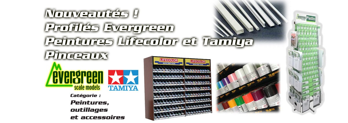 Tamiya, Humbrol, lifecolor, evergreen, pinceaux maquette