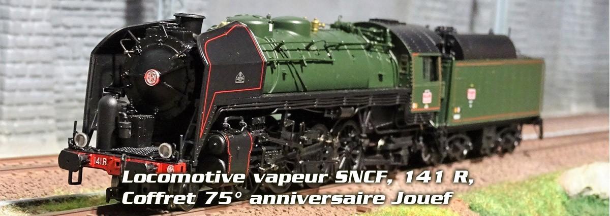 Jouef HJ2381 Locomotive à vapeur SNCF, 141 R, livrée verte et noire, édition spéciale 75° anniversaire