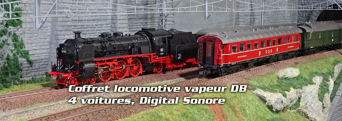 Roco 18.6DB-WAG Coffret locomotive vapeur série 18.6, DB, avec 4 voitures voyageur, Digital Sonore