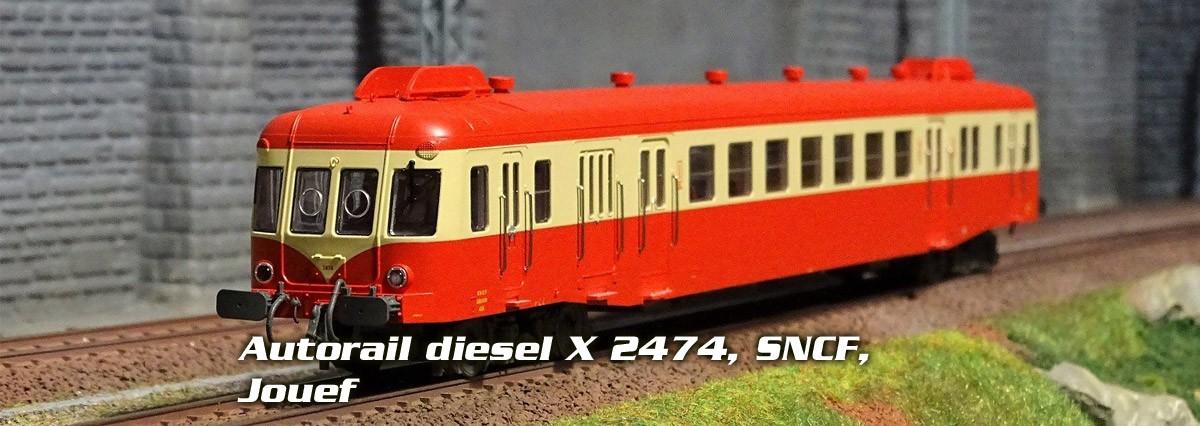 Jouef HJ2361S Autorail diesel X 2474, SNCF, toit rouge, dépôt de Limoges, digital sonore