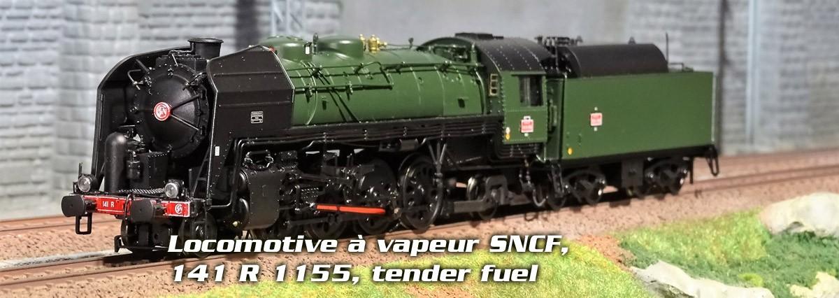 Locomotive à vapeur SNCF, 141 R 1155, livrée verte et noire, tender fuel HJ2276 HJ2277