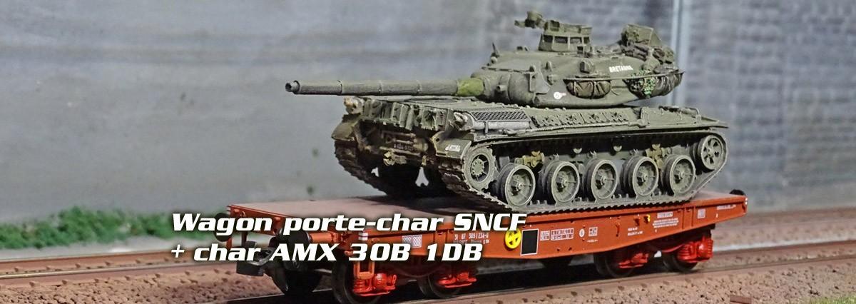 """Wagon porte-char, Rlmmp, SNCF + char AMX 30B 1DB """"ANJOU"""""""