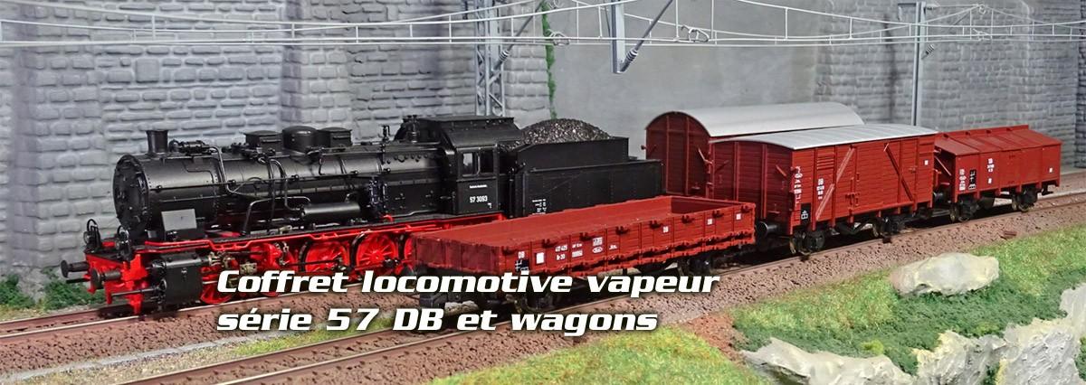 Roco VAP57DB-WAG Coffret locomotive vapeur série 57 DB, avec 4 wagons