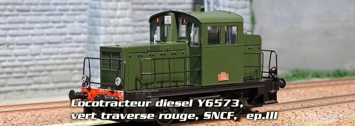 Locotracteur diesel Y6573, vert traverse rouge, SNCF,  ep.III