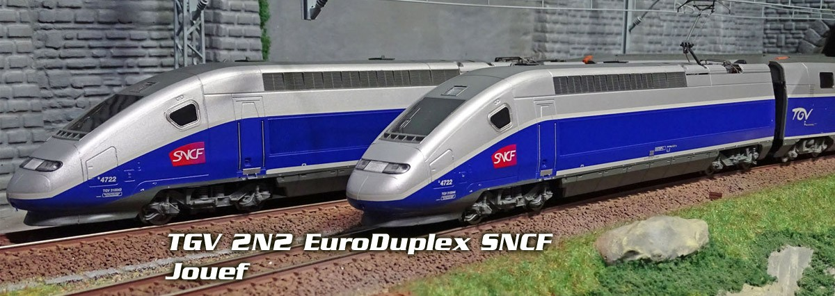 Jouef HJ2362 TGV 2N2 EuroDuplex SNCF, bleu, logo carmillon, 4 éléments