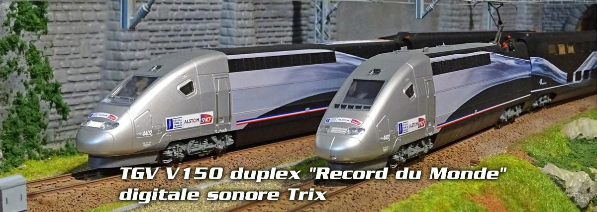 """Trix 22790 Coffret TGV V150 duplex """"Record du Monde"""", digitale sonore"""