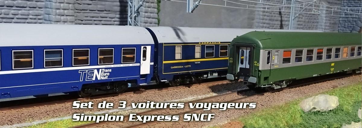 Set de 3 voitures voyageurs, Simplon Express SNCF